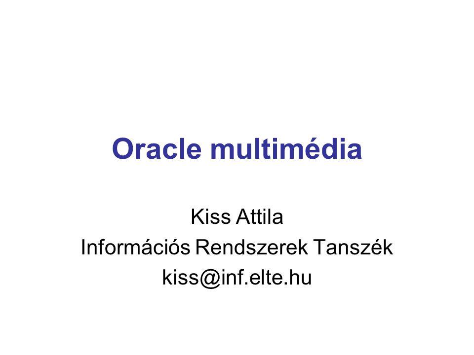 Multimédia objektumtípusok ORDAudio ORDDoc (kép, hang, videó) ORDImage ORDVideo DICOM (orvosi képek) Mindegyik objektumban további metainformációk mellett egy ORDSource objektum tartalmazza a bináris tartalmát a médiaadatnak.