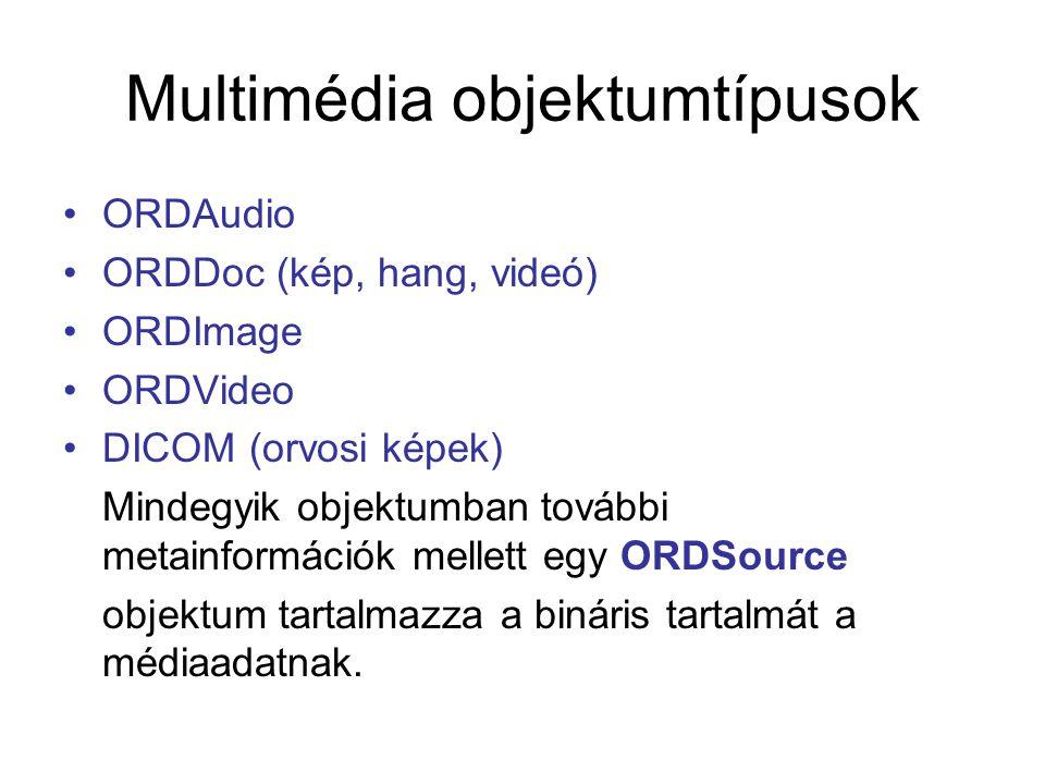 Multimédia objektumtípusok ORDAudio ORDDoc (kép, hang, videó) ORDImage ORDVideo DICOM (orvosi képek) Mindegyik objektumban további metainformációk mel
