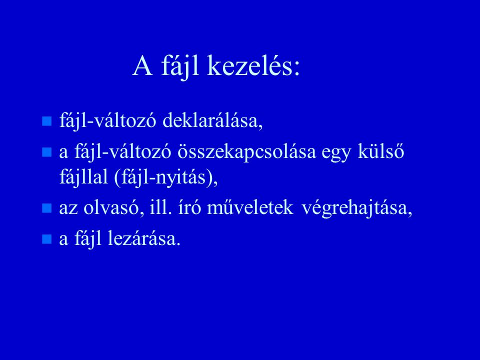A műveletek: procedure Get(File : in File_Type; Item : out Num; Width : in Field := 0); procedure Get(Item : out Num; Width : in Field := 0); n n Hibajelzés: – –Data_Error-ha nem megfelelő az olvasott jel szintaxisa, vagy ha a kapott érték nincs benne a Num típusban procedure Put(File : in File_Type; Item : in Num; Fore : in Field := Default_Fore; Aft : in Field := Default_Aft; Exp : in Field := Default_Exp); procedure Put(Item : in Num; Fore : in Field := Default_Fore; Aft : in Field := Default_Aft; Exp : in Field := Default_Exp);