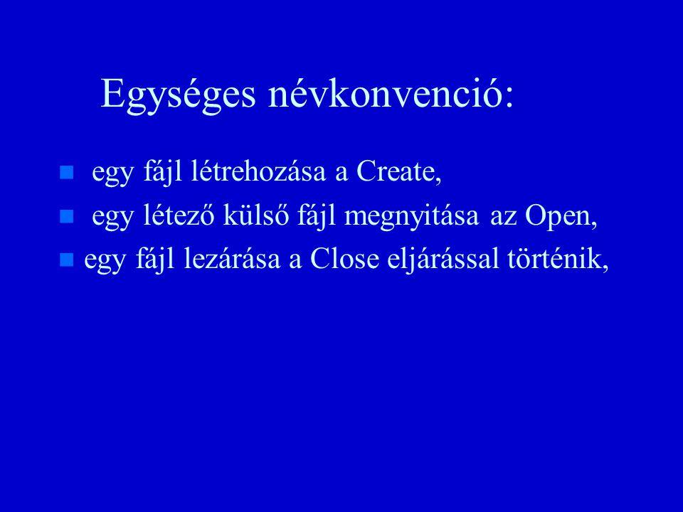 Egységes névkonvenció: n n egy fájl létrehozása a Create, n n egy létező külső fájl megnyitása az Open, n n egy fájl lezárása a Close eljárással történik,