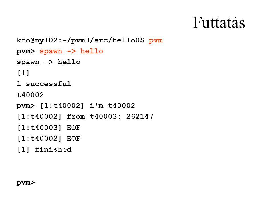Futtatás kto@nyl02:~/pvm3/src/hello0$ pvm pvm> spawn -> hello spawn -> hello [1] 1 successful t40002 pvm> [1:t40002] i'm t40002 [1:t40002] from t40003