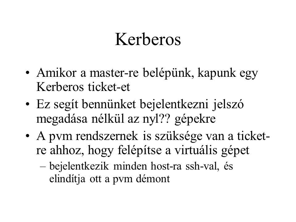 Kerberos Amikor a master-re belépünk, kapunk egy Kerberos ticket-et Ez segít bennünket bejelentkezni jelszó megadása nélkül az nyl?.
