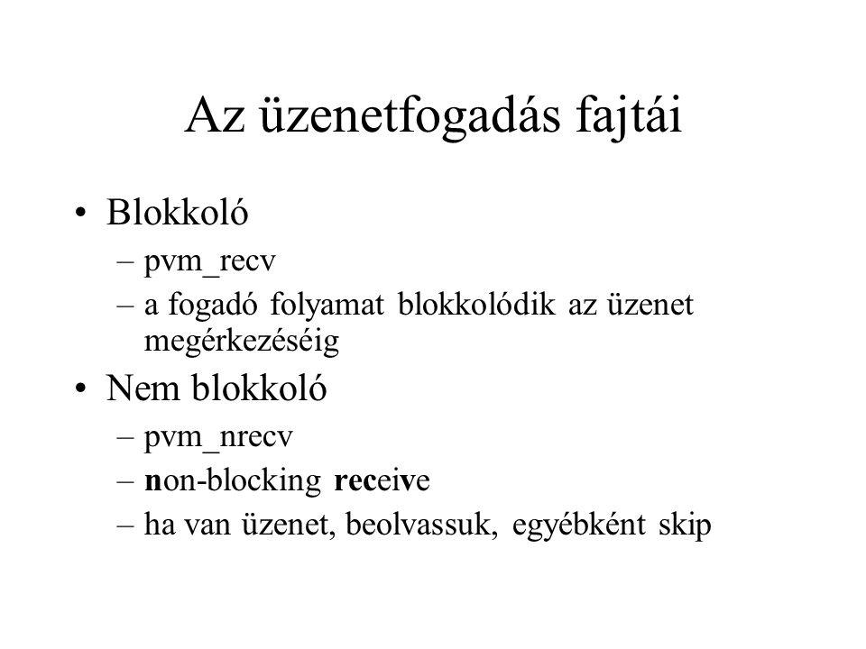 Az üzenetfogadás fajtái Blokkoló –pvm_recv –a fogadó folyamat blokkolódik az üzenet megérkezéséig Nem blokkoló –pvm_nrecv –non-blocking receive –ha van üzenet, beolvassuk, egyébként skip