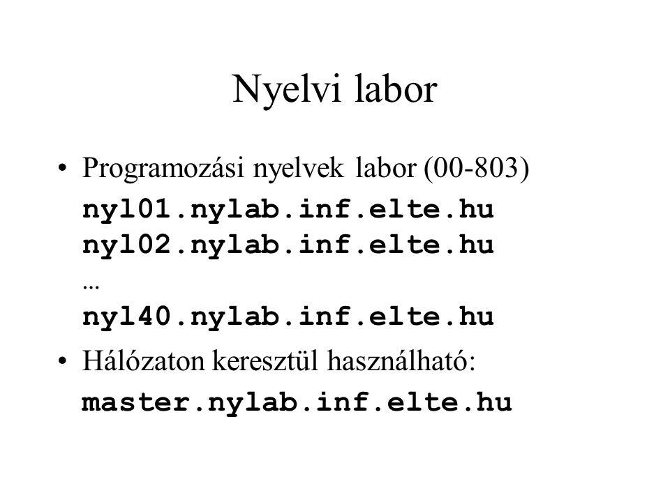 Nyelvi labor Programozási nyelvek labor (00-803) nyl01.nylab.inf.elte.hu nyl02.nylab.inf.elte.hu … nyl40.nylab.inf.elte.hu Hálózaton keresztül használható: master.nylab.inf.elte.hu