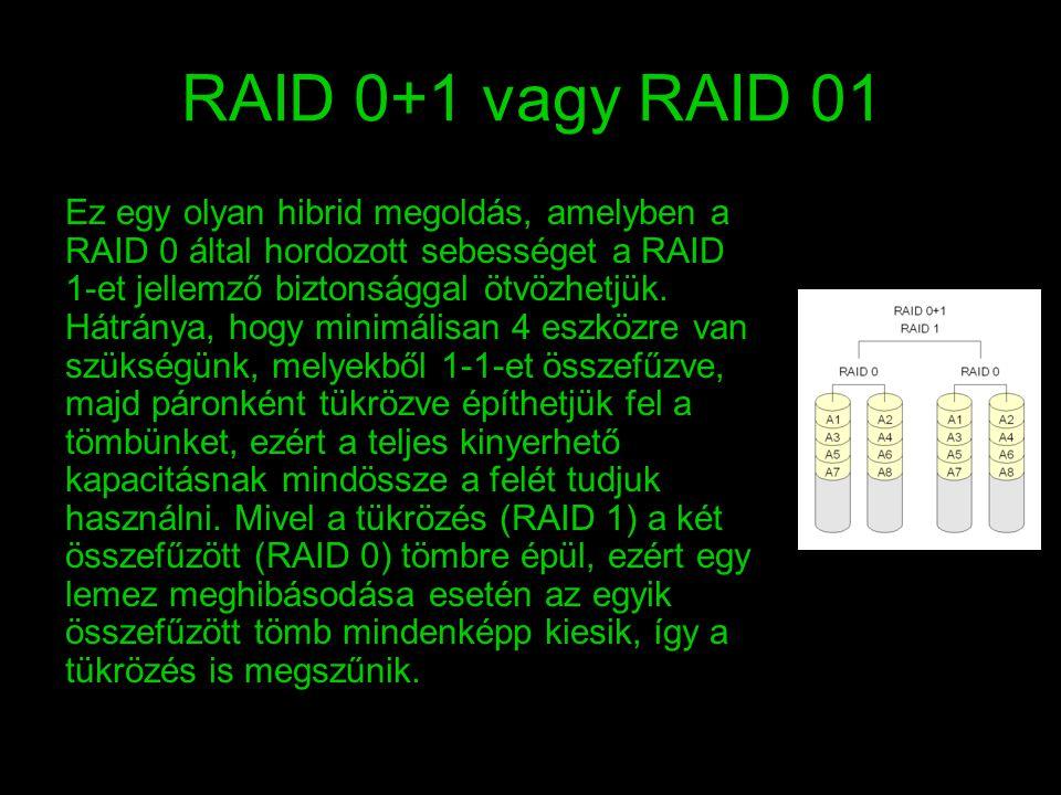 RAID 0+1 vagy RAID 01 Ez egy olyan hibrid megoldás, amelyben a RAID 0 által hordozott sebességet a RAID 1-et jellemző biztonsággal ötvözhetjük. Hátrán