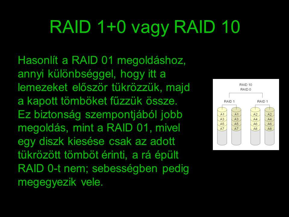 RAID 1+0 vagy RAID 10 Hasonlít a RAID 01 megoldáshoz, annyi különbséggel, hogy itt a lemezeket először tükrözzük, majd a kapott tömböket fűzzük össze.
