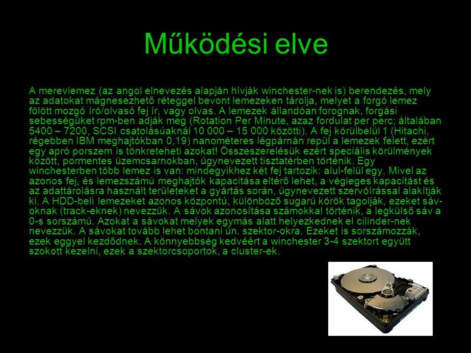 Működési elve A merevlemez (az angol elnevezés alapján hívják winchester-nek is) berendezés, mely az adatokat mágnesezhető réteggel bevont lemezeken t