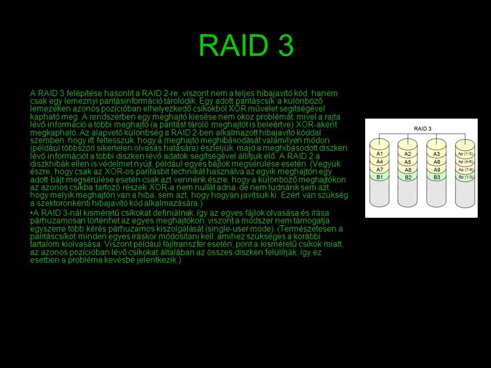 RAID 3 A RAID 3 felépítése hasonlít a RAID 2-re, viszont nem a teljes hibajavító kód, hanem csak egy lemeznyi paritásinformáció tárolódik. Egy adott p