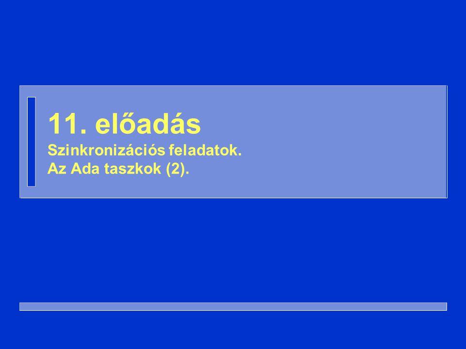 62 Véletlenszerű időkorlát (2) procedure Éhes_Vagyok is Ehetek: Boolean := False; begin while not Ehetek loop Villák(Bal).Felvesz; select Villák(Jobb).Felvesz; Ehetek := True; ordelay Véletlen_Idő; Villák(Bal).Letesz; end select; end loop; end Éhes_Vagyok;