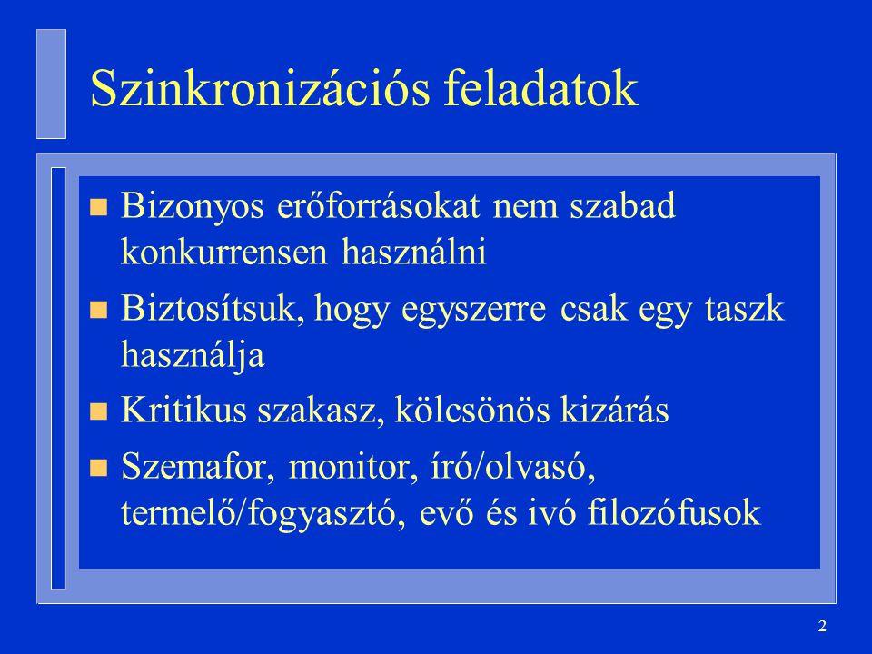 53 with Sorok; package body Osztott_Sorok is procedure Betesz( S: in out Sor; E: in Elem ) is begin S.Betesz(E); end; procedure Kivesz( S: in out Sor; E: out Elem ) is begin S.Kivesz(E); end; task body Sor is … end Sor; end Osztott_Sorok; Taszkok elrejtése (2)