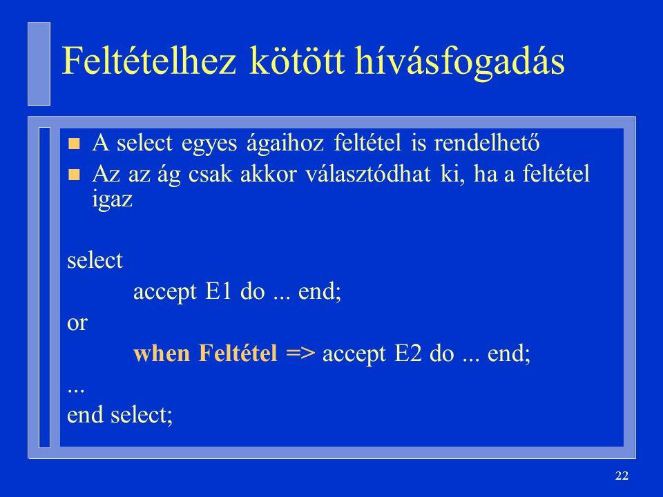 22 Feltételhez kötött hívásfogadás n A select egyes ágaihoz feltétel is rendelhető n Az az ág csak akkor választódhat ki, ha a feltétel igaz select accept E1 do...
