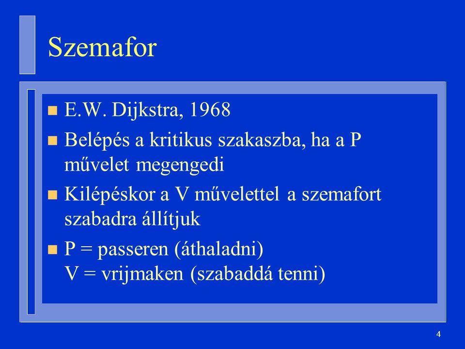 25 Általánosított szemafor (2) task body Szemafor is N: Natural := Max; begin loop select when N > 0 => accept P; N := N-1; or accept V; N := N+1; or terminate; end select; end loop; end Szemafor;