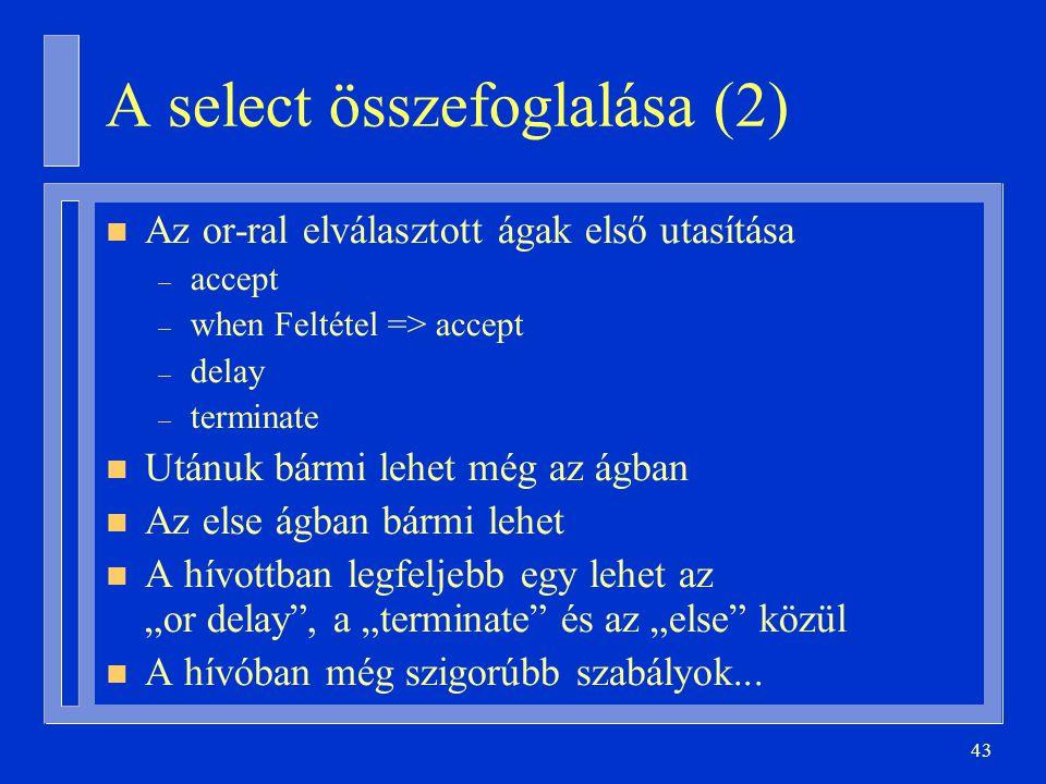 """43 A select összefoglalása (2) n Az or-ral elválasztott ágak első utasítása – accept – when Feltétel => accept – delay – terminate n Utánuk bármi lehet még az ágban n Az else ágban bármi lehet n A hívottban legfeljebb egy lehet az """"or delay , a """"terminate és az """"else közül n A hívóban még szigorúbb szabályok..."""