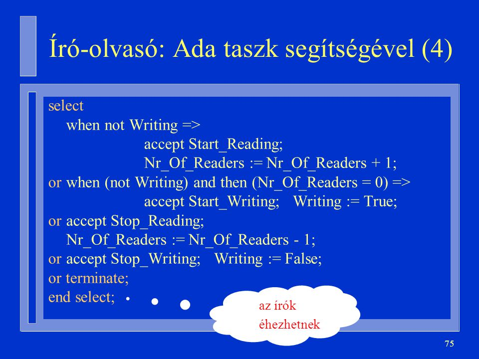 75 Író-olvasó: Ada taszk segítségével (4) select when not Writing => accept Start_Reading; Nr_Of_Readers := Nr_Of_Readers + 1; orwhen (not Writing) and then (Nr_Of_Readers = 0) => accept Start_Writing; Writing := True; oraccept Stop_Reading; Nr_Of_Readers := Nr_Of_Readers - 1; oraccept Stop_Writing; Writing := False; or terminate; end select; az írók éhezhetnek