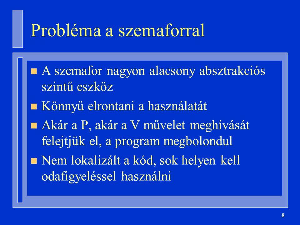 8 Probléma a szemaforral n A szemafor nagyon alacsony absztrakciós szintű eszköz n Könnyű elrontani a használatát n Akár a P, akár a V művelet meghívását felejtjük el, a program megbolondul n Nem lokalizált a kód, sok helyen kell odafigyeléssel használni