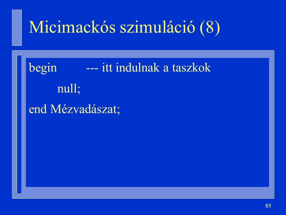 85 begin --- itt indulnak a taszkok null; end Mézvadászat; Micimackós szimuláció (8)