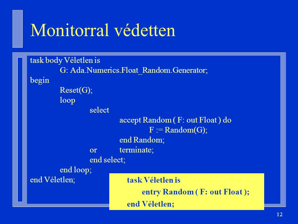 12 Monitorral védetten task body Véletlen is G: Ada.Numerics.Float_Random.Generator; begin Reset(G); loop select accept Random ( F: out Float ) do F :