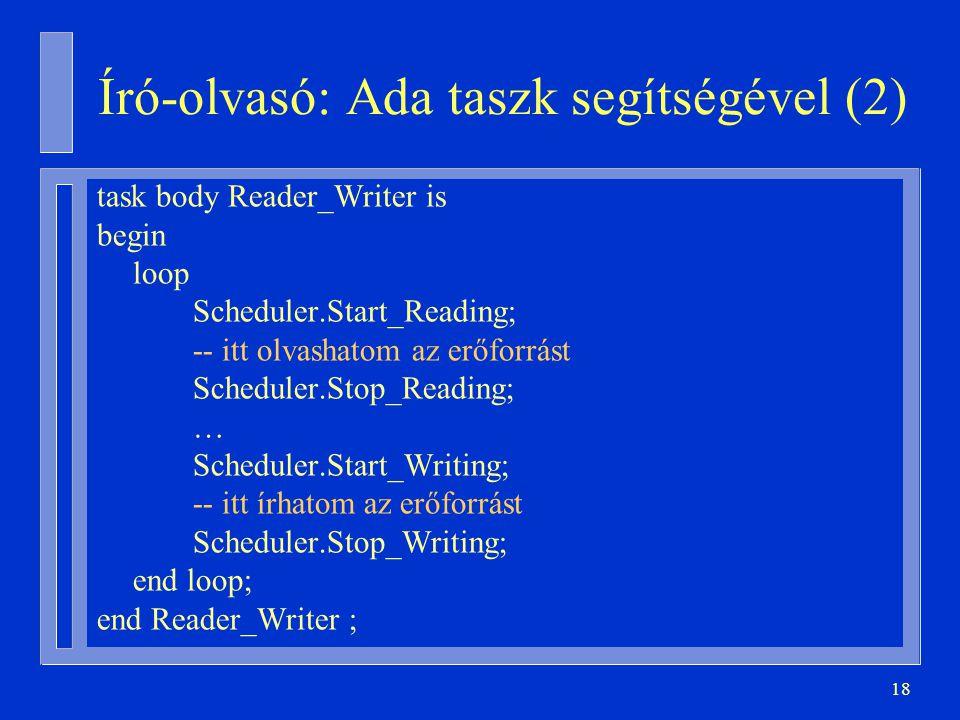 18 Író-olvasó: Ada taszk segítségével (2) task body Reader_Writer is begin loop Scheduler.Start_Reading; -- itt olvashatom az erőforrást Scheduler.Stop_Reading; … Scheduler.Start_Writing; -- itt írhatom az erőforrást Scheduler.Stop_Writing; end loop; end Reader_Writer ;