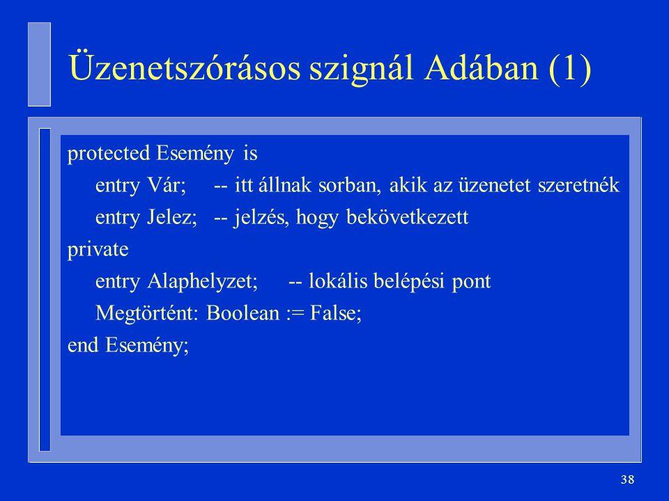 38 Üzenetszórásos szignál Adában (1) protected Esemény is entry Vár; -- itt állnak sorban, akik az üzenetet szeretnék entry Jelez; -- jelzés, hogy bekövetkezett private entry Alaphelyzet; -- lokális belépési pont Megtörtént: Boolean := False; end Esemény;