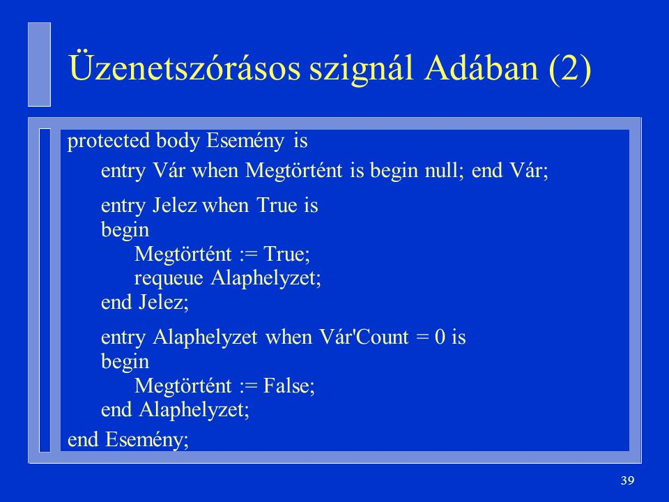 39 Üzenetszórásos szignál Adában (2) protected body Esemény is entry Vár when Megtörtént is begin null; end Vár; entry Jelez when True is begin Megtörtént := True; requeue Alaphelyzet; end Jelez; entry Alaphelyzet when Vár Count = 0 is begin Megtörtént := False; end Alaphelyzet; end Esemény;