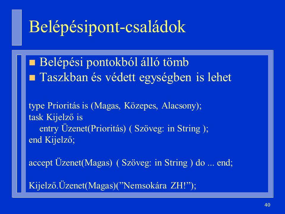 40 Belépésipont-családok n Belépési pontokból álló tömb n Taszkban és védett egységben is lehet type Prioritás is (Magas, Közepes, Alacsony); task Kijelző is entry Üzenet(Prioritás) ( Szöveg: in String ); end Kijelző; accept Üzenet(Magas) ( Szöveg: in String ) do...