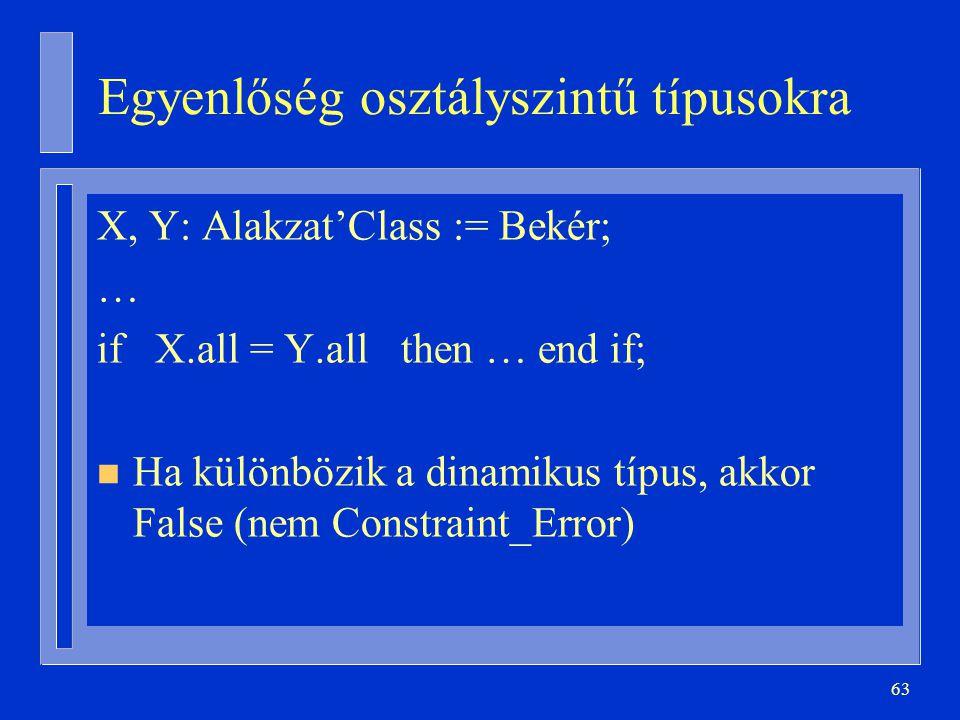 63 Egyenlőség osztályszintű típusokra X, Y: Alakzat'Class := Bekér; … if X.all = Y.all then … end if; n Ha különbözik a dinamikus típus, akkor False (nem Constraint_Error)