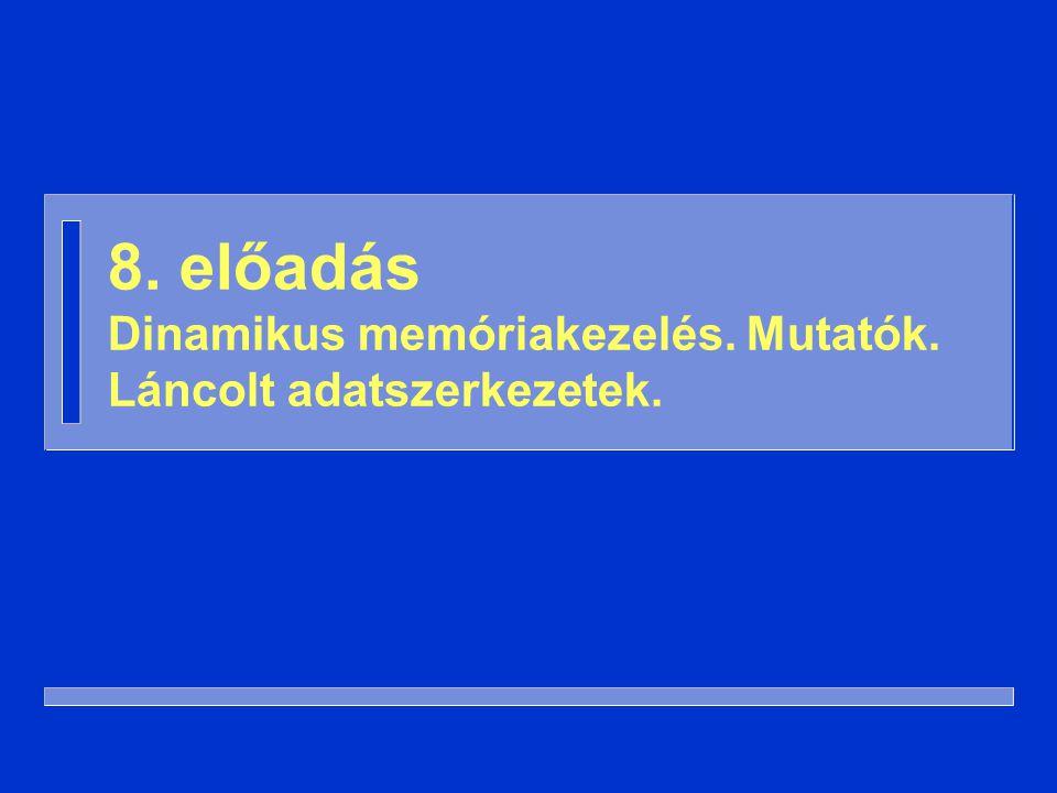 42 -- előfeltétel: M /= null procedure Mögé_Beszúr ( M: in out Mutató; E: in Elem ) is Új: Mutató; begin Új := new Csúcs; Új.Adat := E; Új.Következő := M.Következő; M.Következő := Új; end Mögé_Beszúr; Láncolt adatszerkezet használata (3)