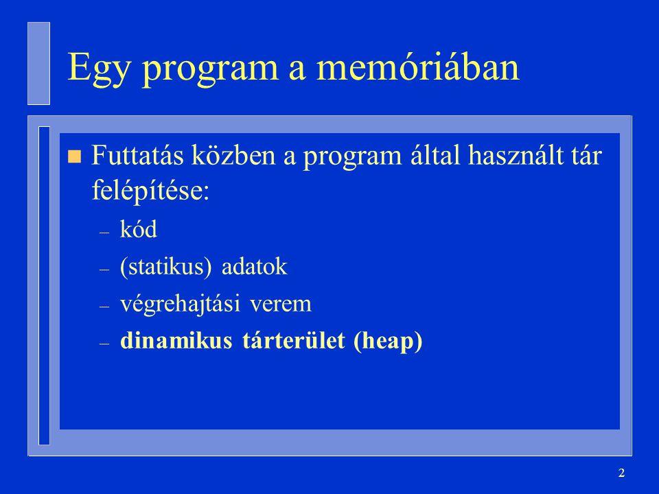 3 Változók leképzése a memóriára n Statikus – A fordító a tárgykódban lefoglal neki helyet n Automatikus – Futás közben a végrehajtási vermen jön létre és szűnik meg n Dinamikus
