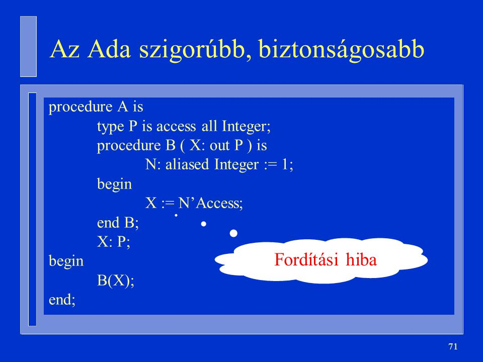 71 Az Ada szigorúbb, biztonságosabb procedure A is type P is access all Integer; procedure B ( X: out P ) is N: aliased Integer := 1; begin X := N'Acc