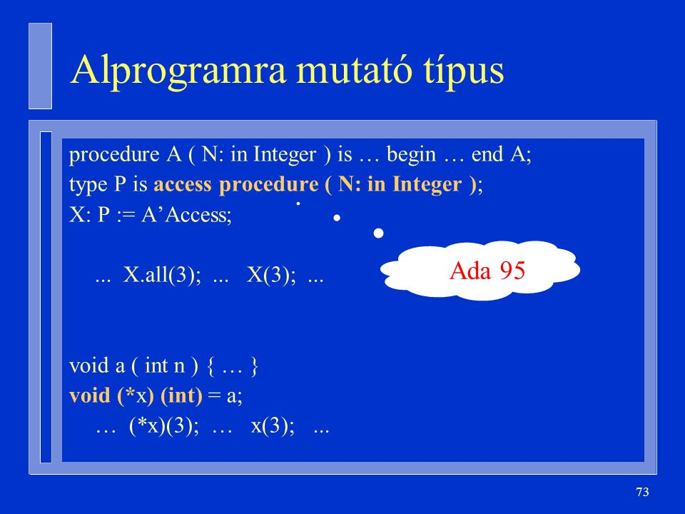 73 Alprogramra mutató típus procedure A ( N: in Integer ) is … begin … end A; type P is access procedure ( N: in Integer ); X: P := A'Access;... X.all