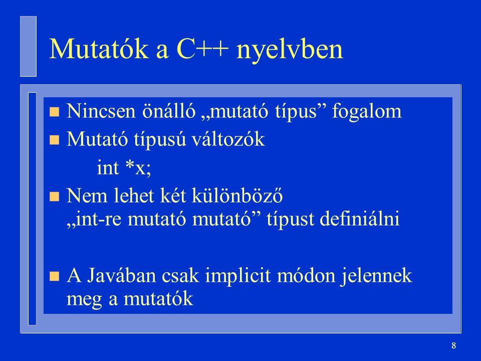 9 Mutató, ami sehova sem mutat n Nullpointer Az Adában: a null érték n Minden mutató típusnak típusértéke type P is access Integer; X: P := null; Y: P; -- implicit módon null-ra inicializálódik