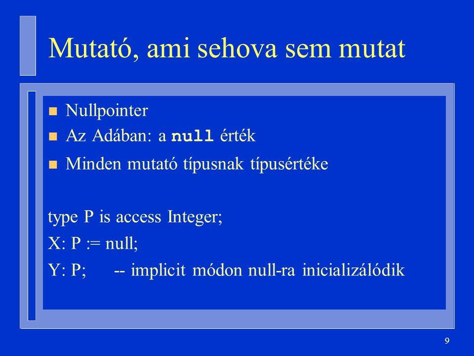 10 Hivatkozás null-on keresztül type P is access Integer; X: P := null; N: Integer := X.all; Constraint_Error futási idejű hiba