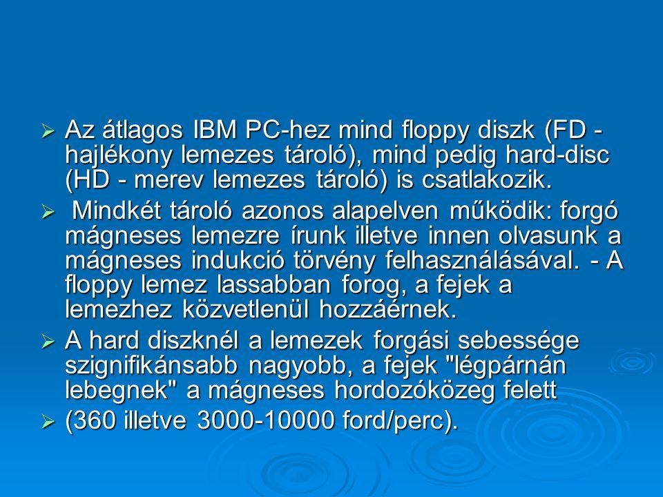  Az átlagos IBM PC-hez mind floppy diszk (FD - hajlékony lemezes tároló), mind pedig hard-disc (HD - merev lemezes tároló) is csatlakozik.  Mindkét