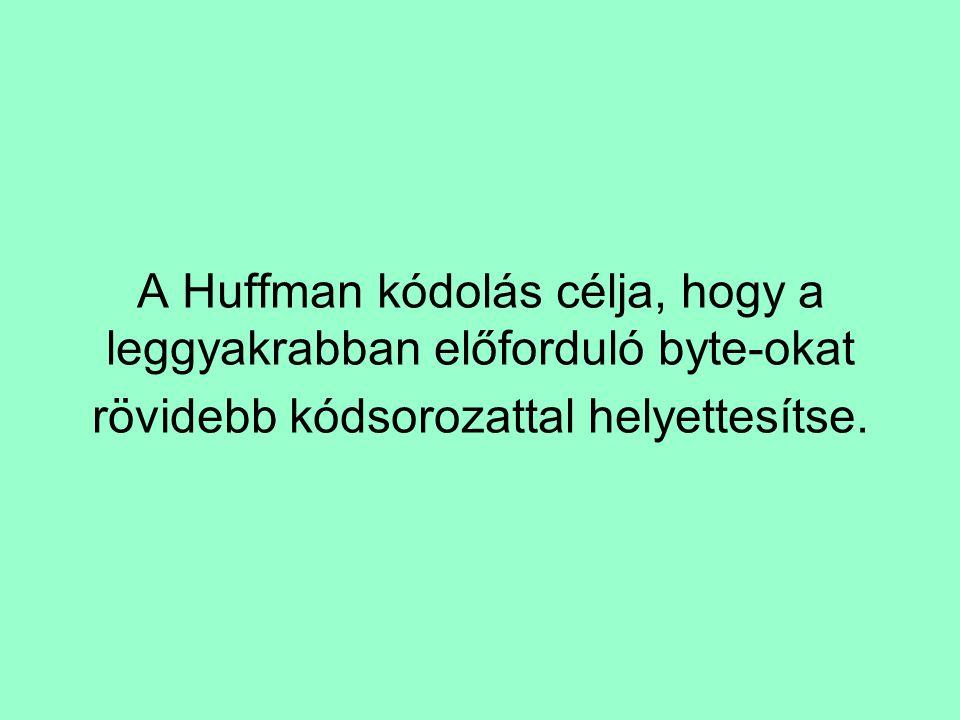 A Huffman kódolás célja, hogy a leggyakrabban előforduló byte-okat rövidebb kódsorozattal helyettesítse.