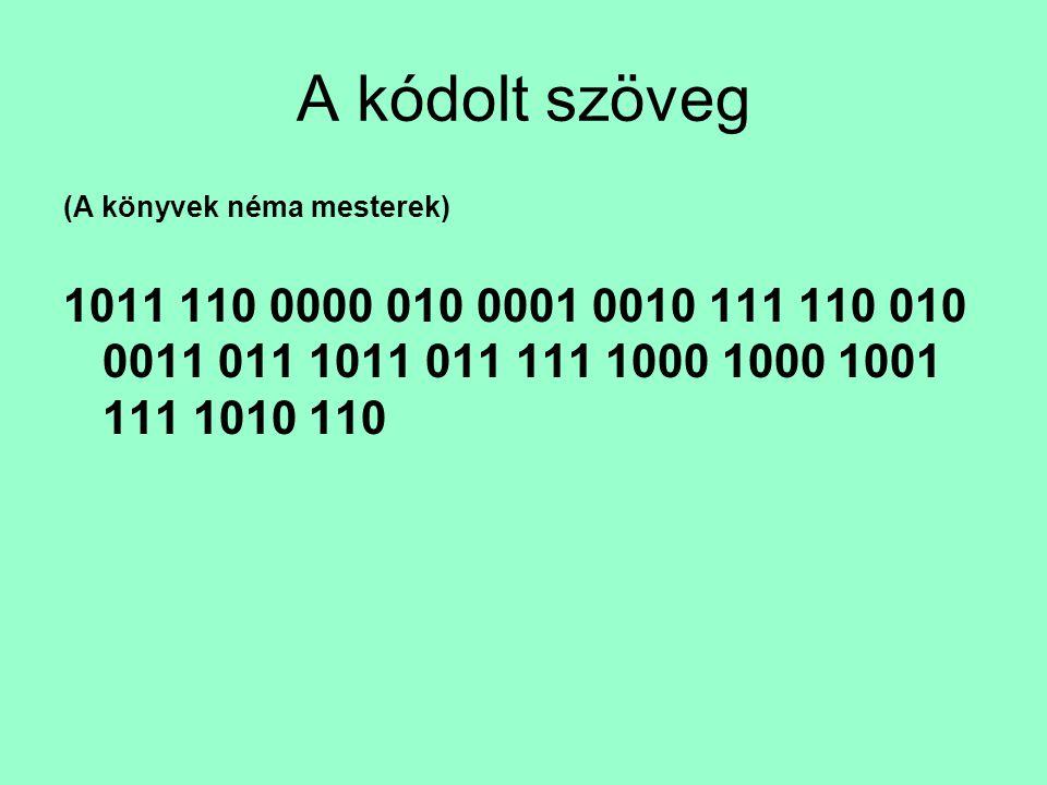 A kódolt szöveg (A könyvek néma mesterek) 1011 110 0000 010 0001 0010 111 110 010 0011 011 1011 011 111 1000 1000 1001 111 1010 110
