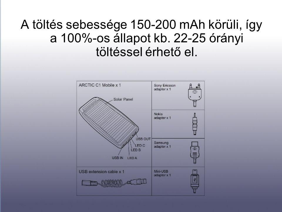A töltés sebessége 150-200 mAh körüli, így a 100%-os állapot kb. 22-25 órányi töltéssel érhető el.
