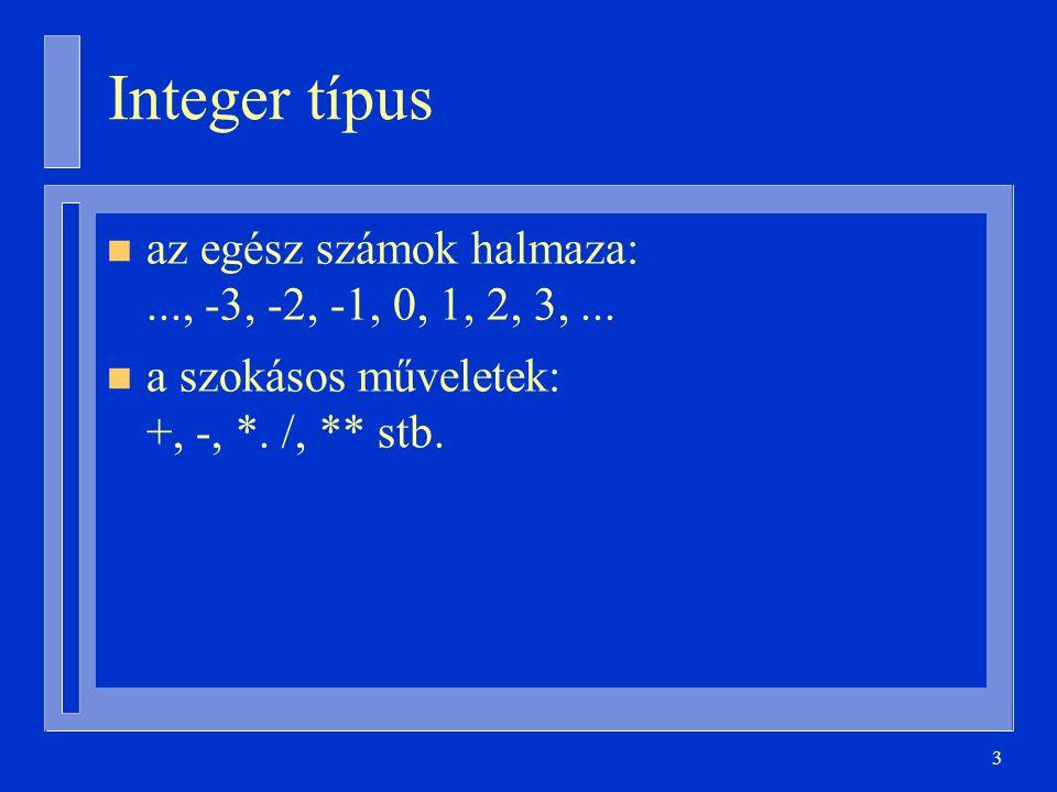 54 Tömbök attribútumai type T is array ( 1..10 ) of Integer; X: T := (0,2,4,6,8,1,3,5,7,9); X Firstaz első index, azaz 1 X Lastaz utolsó index, azaz 10 X RangeX First..