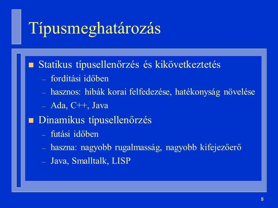 39 Származtatás + altípusképzés type Napok is new Integer range 1..31; type Napok is range 1..31; type Hónap_Napok is new Integer; subtype Napok is Hónap_Napok range 1..31;