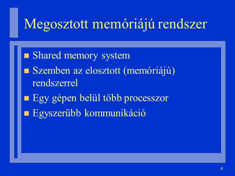 4 Megosztott memóriájú rendszer n Shared memory system n Szemben az elosztott (memóriájú) rendszerrel n Egy gépen belül több processzor n Egyszerűbb kommunikáció