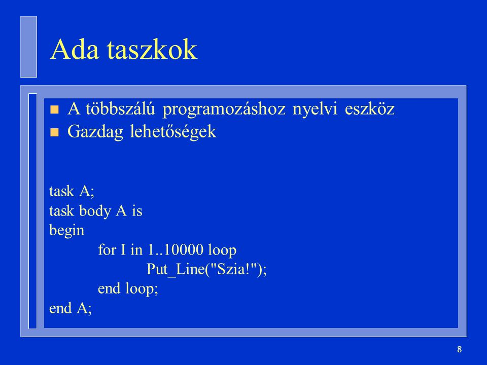 19 Taszk elindulása és megállása procedure P is task T; task body T is … begin … end T; begin … end P; itt indul a T P itt bevárja T-t