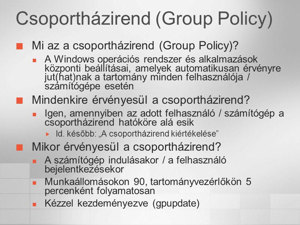 Csoportházirend (Group Policy) Mi az a csoportházirend (Group Policy)? A Windows operációs rendszer és alkalmazások központi beállításai, amelyek auto