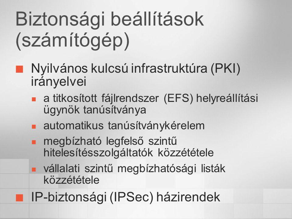 Biztonsági beállítások (számítógép) Nyilvános kulcsú infrastruktúra (PKI) irányelvei a titkosított fájlrendszer (EFS) helyreállítási ügynök tanúsítványa automatikus tanúsítványkérelem megbízható legfelső szintű hitelesítésszolgáltatók közzététele vállalati szintű megbízhatósági listák közzététele IP-biztonsági (IPSec) házirendek