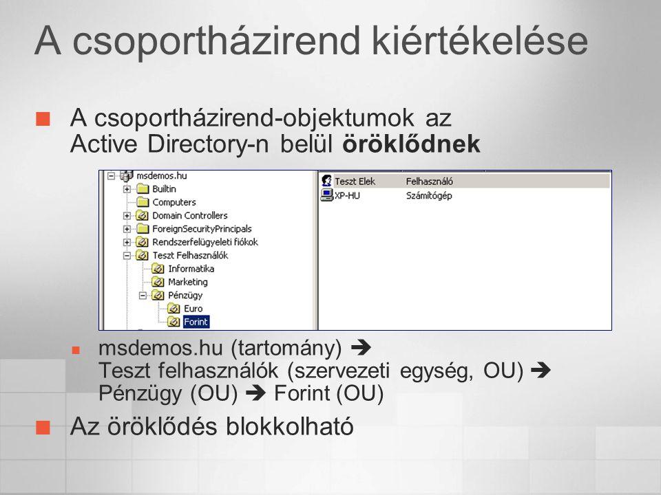 A csoportházirend kiértékelése A csoportházirend-objektumok az Active Directory-n belül öröklődnek msdemos.hu (tartomány)  Teszt felhasználók (szervezeti egység, OU)  Pénzügy (OU)  Forint (OU) Az öröklődés blokkolható