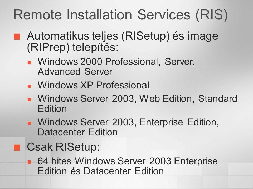 Remote Installation Services (RIS) Automatikus teljes (RISetup) és image (RIPrep) telepítés: Windows 2000 Professional, Server, Advanced Server Windows XP Professional Windows Server 2003, Web Edition, Standard Edition Windows Server 2003, Enterprise Edition, Datacenter Edition Csak RISetup: 64 bites Windows Server 2003 Enterprise Edition és Datacenter Edition