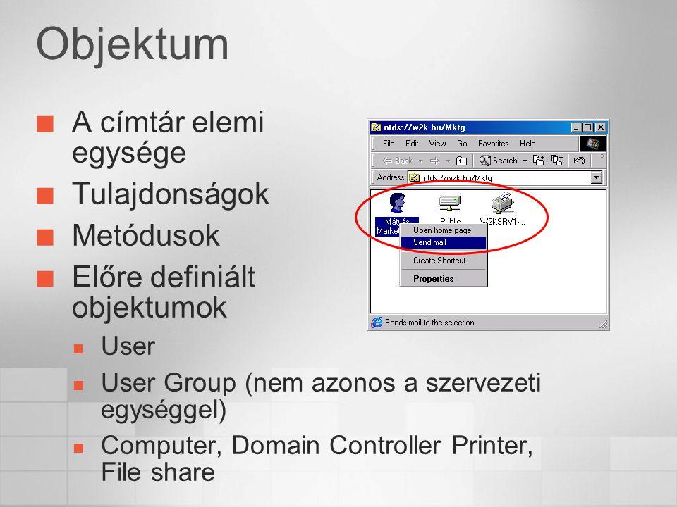 Objektum A címtár elemi egysége Tulajdonságok Metódusok Előre definiált objektumok User User Group (nem azonos a szervezeti egységgel) Computer, Domain Controller Printer, File share