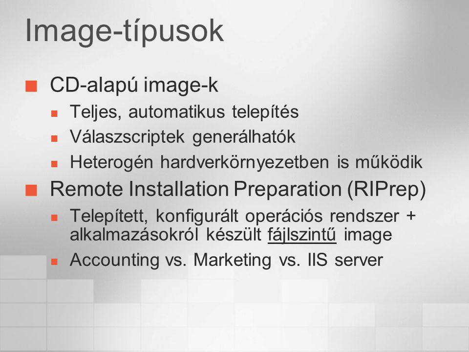 Image-típusok CD-alapú image-k Teljes, automatikus telepítés Válaszscriptek generálhatók Heterogén hardverkörnyezetben is működik Remote Installation