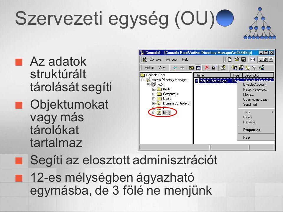 Szervezeti egység (OU) Az adatok struktúrált tárolását segíti Objektumokat vagy más tárolókat tartalmaz Segíti az elosztott adminisztrációt 12-es mély