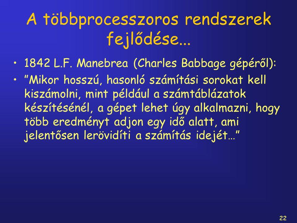 """22 A többprocesszoros rendszerek fejlődése... 1842 L.F. Manebrea (Charles Babbage gépéről): """"Mikor hosszú, hasonló számítási sorokat kell kiszámolni,"""