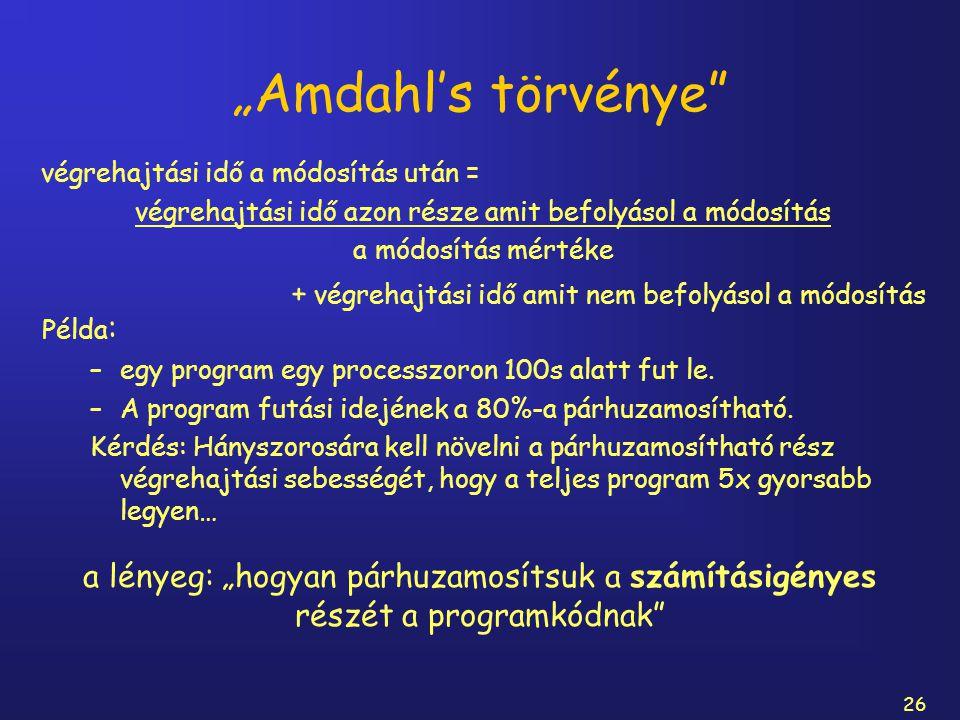 """26 """"Amdahl's törvénye"""" Példa : –egy program egy processzoron 100s alatt fut le. –A program futási idejének a 80%-a párhuzamosítható. Kérdés: Hányszoro"""