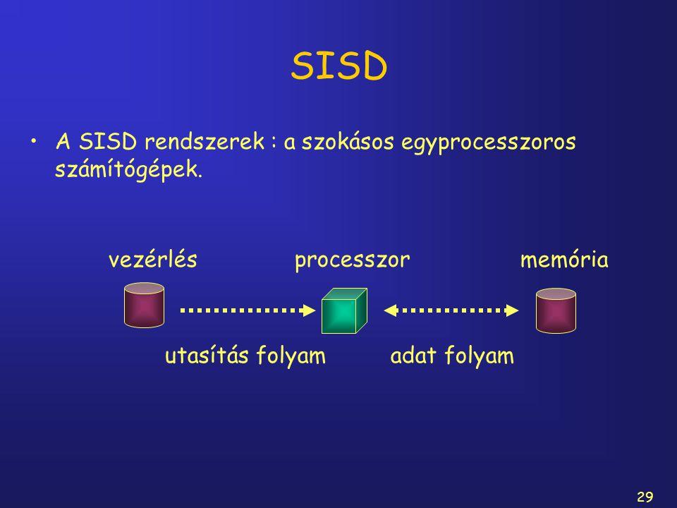 29 SISD A SISD rendszerek : a szokásos egyprocesszoros számítógépek. processzor vezérlésmemória utasítás folyamadat folyam